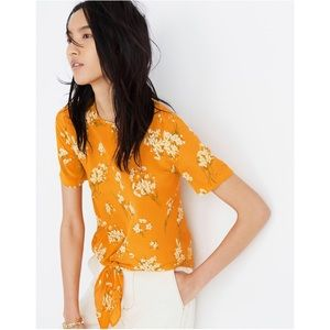 Silk Button-Back Tie Tee in Butterfly Garden